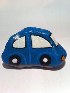 Blue Car Hand Painted Rock Art