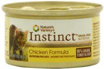 Nature's Variety Instinct Grain-Free Canned Cat Food, Chicken Formula, 3 Ounce Cans (Pack of 24)