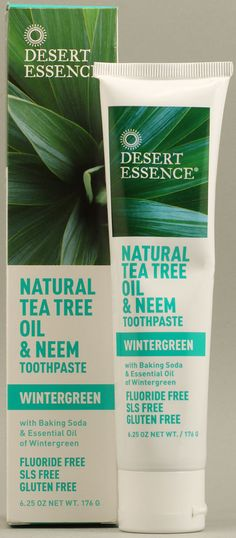 Desert Essence Natural Tea Tree Oil and Neem Toothpaste Wintergreen~ this is supposed to greatly reduce plaque~ want to dry per dr. Dr Oz, Sls Free Toothpaste, Wintergreen Oil, Desert Essence, Neem Oil, Vegan Beauty, Tea Tree Oil, Natural Oils, Natural Beauty