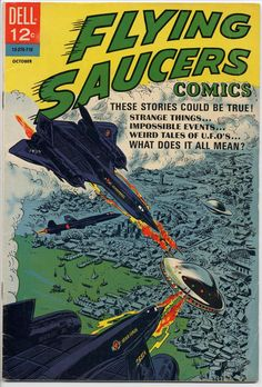 Flying Saucer Dell Comic Book from 1967 That is in VF Condition (approx This comic is in nice shape with light corner and surface wear. The comic has amazing color and gloss, tight binding, and clean pages with no folds or markings. Sci Fi Comics, War Comics, Horror Comics, Silver Age Comics, Vintage Comic Books, Vintage Comics, Vintage Posters, Science Fiction Books, Pulp Fiction