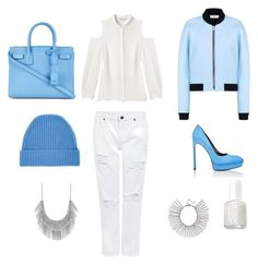 """""""Street Style , Blue & White"""" by mathis-weks on Polyvore featuring Edit, Rebecca Minkoff, Balenciaga, Yves Saint Laurent, Orwell + Austen, Lucky Brand and Essie"""