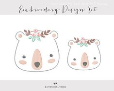 Polar Bear Floral Two Sizes Applique Embroidery Design for