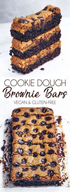 Cookie Dough Brownie Bars #cookiedough #brownies #vegan #glutenfree #dairyfree #healthy #oatflour #cake #loaf #chocolate #chocolatechips #recipe #bars #gbutter #nutbutter #protein #veganprotein #video #recipevideo