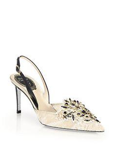Rene Caovilla - Jeweled Lace D'Orsay Slingback Pumps