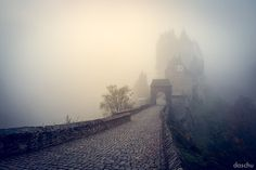 try to disappear by DaSchu on DeviantArt / castle in fog. Burg Eltz castle in the cold autumn-morning fog. Eifel Germany, Burg Eltz Castle, Landscape Photography, Nature Photography, Online Art Gallery, Life Is Beautiful, Great Places, Worlds Largest, Mists