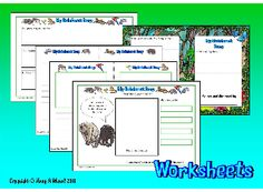 THE RAINFOREST- Creating a story plan, a book cover and blurb for a story; describing & labelling a story character; using writing sheets for a Rainforest story book