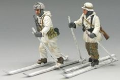 World War II German Winter BBG010 Mountain Ski Troopers - Made by King and Country Military Miniatures and Models. Factory made, hand assembled, painted and boxed in a padded decorative box. Excellent gift for the enthusiast.