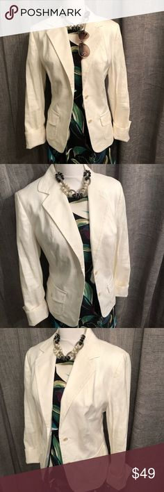 Banana Republic White Linen Blazer Jacket White linen blazer, size 14, like new. Amazing quality, double lined, tan buttons and neat stitching. Slit in back. No flaws.  Happy to bundle, I will promptly answer any questions :) Follow me to see new items.   Clean, non smoking home. Banana Republic Jackets & Coats Blazers
