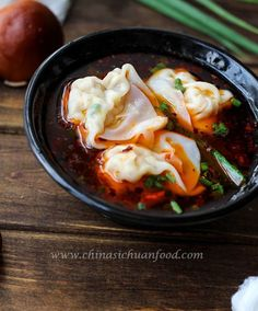 {China}Wonton soup recipe-- spicy wonton soup with pork and mushroom as stuffing.