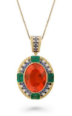 ENKAI PENDANT by VOTIVE • Mexican Fire Opal, Sapphires, Emeralds, Black and White Diamonds, 18k Yellow Gold