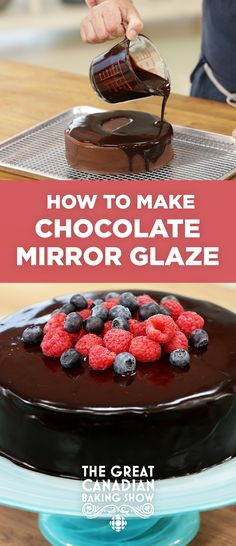 How to make a chocolate mirror glaze // Judge Bruno from The Great Canadian Baking Show explains how to make a flawless mirror glaze. British Baking Show Recipes, British Bake Off Recipes, Baking Recipes, Frosting Recipes, Cake Recipes, The Great British Bake Off, Chocolate Mirror Glaze, Chocolate Glaze For Cake Recipe, Chocolate Ganache