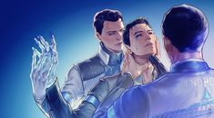 Detroit become human Connor x Connor x RK900 By: the-sharkcat.tumblr.com