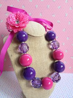 Chunky Bubblegum Necklace, Hair Accessory, Fuschia Pink & Purple, Girls, Toddlers, Birthday, Photo Props via Etsy
