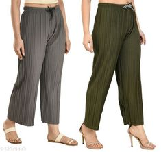 Checkout this latest Palazzos Product Name: *Gladly Women's Solid beautifull Pallazzos for women and Girls 2Pcs Combo* Fabric: Polyester Pattern: Textured Multipack: 2 Sizes:  28 (Waist Size: 28 in, Length Size: 37 in)  30 (Waist Size: 30 in, Length Size: 37 in)  32 (Waist Size: 32 in, Length Size: 37 in)  34 (Waist Size: 34 in, Length Size: 37 in)  36, 38 Easy Returns Available In Case Of Any Issue   Catalog Rating: ★4 (363)  Catalog Name: Fancy Fabulous Women Palazzos CatalogID_2330673 C79-SC1039 Code: 544-12178899-6711