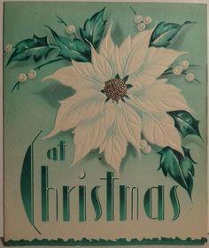 40s Art Deco White Poinsettia Vintage Christmas Card 1696 | eBay
