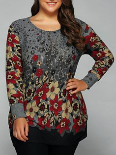 Ruched Loose-Fitting Floral Print T-Shirt in Red | Sammydress.com