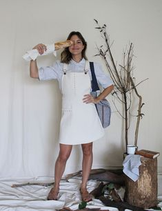 Laura Dungaree Dress Dungaree Dress, Dungarees, Handmade Clothes, White Dress, Trousers, Skirts, Cotton, Shopping, Beautiful