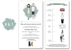 Items similar to Wedding invitations with QUIRKY TIMELINE on the back. Custom wedding portrait, wedding day planner, digital file on Etsy Wedding Timeline, Wedding Menu, Wedding Cards, Our Wedding, Personalised Wedding Invitations, Personalized Wedding, Wedding Stationery, Invites, Planner Tips