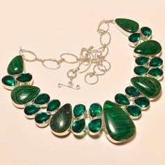 MALACHITE WITH FACETED APATITE QUARTZ AWESOME .925 SILVER NECKLACE #Handmade #Choker