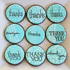 Galletas - Cookies - thank you cookies Thank You Cookies, Fancy Cookies, Cute Cookies, Cupcake Cookies, Thank You Cake, Bolacha Cookies, Galletas Cookies, Iced Sugar Cookies, Paint Cookies