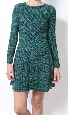 Shoshanna Carla Dress in Green/Navy