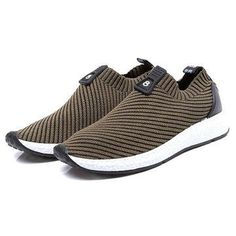 Men Knitted Strech Fabric Breathable Non-slip Slip On Casual Sneakers