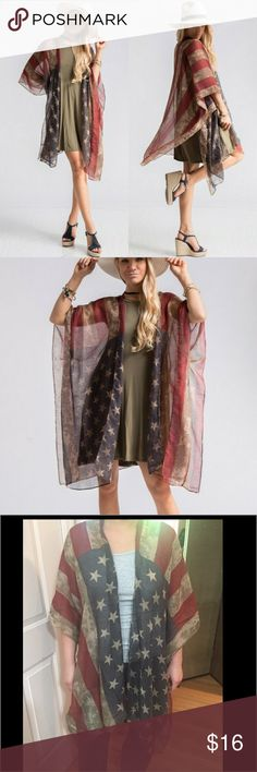 "US Flag Shawl Vest American Flag Shawl Vest. 100% Polyester. 39""x71"". This item has sleeves which makes it so easy to wear!  Great anytime of year!  Stock photos used with company's permission.   Sweaters Shrugs & Ponchos"