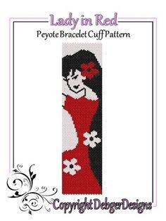 Lady+in+Red+-+Beaded+Peyote+Bracelet+Cuff+Pattern