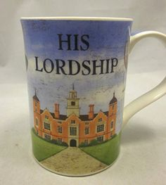Dunoon His Lordship Coffee Mug Cup 12 oz Red Wine Cigars Castle Manor Martin Wiscombe Dunoon