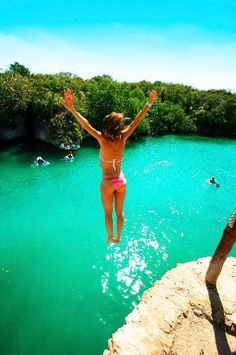 I even jumped off this very cliff. Xel-Ha Cancun Mexico http://www.HotelDealChecker.com
