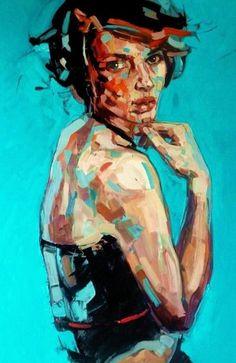 """Cafe Rose"" - Anna Bocek, Poland, 2011 {contemporary artist figurative female face woman portrait oil painting}"