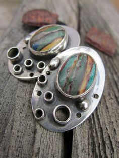 [Handcrafted Artisan Made Sterling Silver and Calsilica Post Earrings by Hogwild Jewelry]