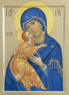 This icon of the Mother of God of Vladimir is handpainted on a gessoed wooden board using egg tempera paints. A real masterpiece from the icon painting studio of St Elisabeth Convent Byzantine Icons, Byzantine Art, Religious Icons, Religious Art, Russian Icons, Orthodox Christianity, Holy Mary, Painting Studio, Madonna And Child