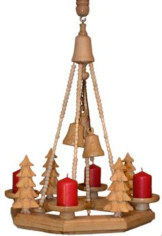 Adventskranz Advent, Decorative Bells, Chandelier, Ceiling Lights, Home Decor, Turning, Christmas, Timber Wood, Candelabra