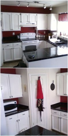 From white walls, brown cabinets, and laminate counters to painted cabinets, granite tile counters, new hardware, and some color to make it stand out.