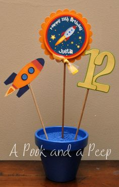 Outer Space Rocket Ship Custom Table Top by APookandAPeep on Etsy, $20.00