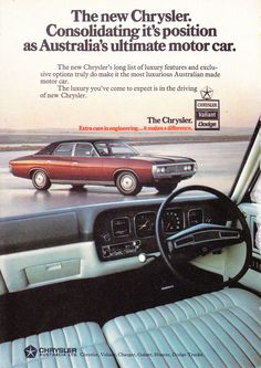 CJ Chrysler by Chrysler Chryslers luxury answer to Holdens Statesman and Fords Fairlane. 340 and 360 770 trans Dana in diff Vintage Advertisements, Vintage Ads, Australian Cars, Australian Vintage, Chrysler Valiant, Martin Car, Aussie Muscle Cars, Chrysler New Yorker, Chrysler Cars