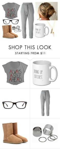 """Watching PLL"" by marsophie ❤ liked on Polyvore featuring Ray-Ban, adidas, UGG Australia, Pieces and Privileged"