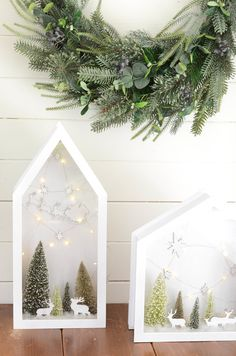 Our Martha Stewart Living™ Snowfall Lighted Dioramas bring a season feel to @ironandtwine's studio. #HDCHolidayHomes