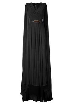 Elie saab Black Belted Cape Back Silk Georgette Gown in Black | Lyst