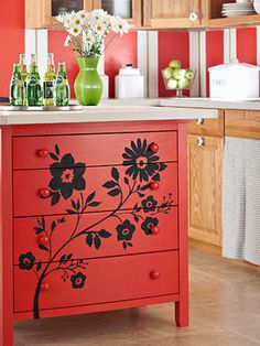 red hot kitchen island painting technique from better homes and gardens