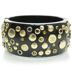 CHANEL Resin Metal CC Studded Bangle in Black.