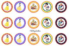 Snow White bottle cap images /Cupcake Toppers
