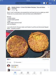 Pie maker recipe Mini Pie Recipes, Waffle Maker Recipes, Snack Recipes, Savoury Recipes, Snacks, Potato Rosti Recipe, Sweet Potato Rosti, Homemade Chipotle, Aussie Food