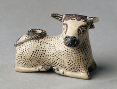 Oil Flask in the Shape of a Bull, 600-575 BC - Greece, Corinth, early 6th Cenury BC, painted terracotta