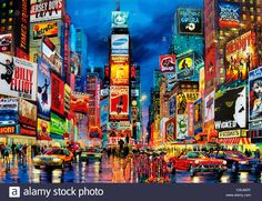 Painting Times Square Broadway New York City Theater Musical Stock Photo, Royalty Free Image: 50198063 - Alamy New York Broadway, Broadway News, New York Drawing, Square Drawing, City Painting, Image Painting, New York City Travel, Hand Painted Walls, New York Art