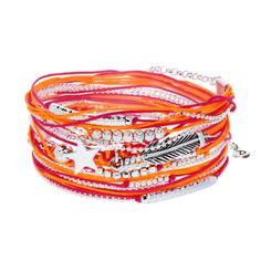 BRACELET STAR WITH FEATHER FRAMBOISE-ORANGE - BRACELETS/Bracelets Multi-Tours - DORIANE Bijoux