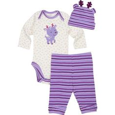Gerber Newborn Girl Holiday Critter Hat, Bodysuit, and Pant 3-Piece Gift Set