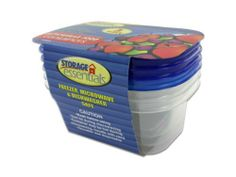 "24 Packs of 3 Pack recangular food containers with lids by Storage Essentials. $38.88. The three piece rectangular food containers are tight sealing with easy open lids. They are freezer, icrowave, and dishwasher safe. The container is 4""X5 1/4""X2 1/2"""
