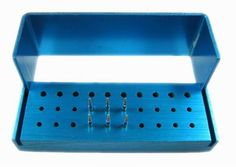 30 Holes Aluminium Dental Burs Holder Bur Block Disinfection Box Autoclave Blue #Shaind2014